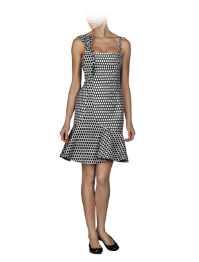 Cotton Poly Dot Jacquard Contour Tulip Dress