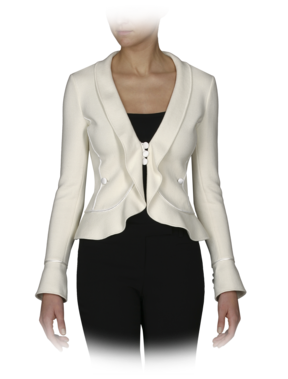 Cotton Knit Jacket with Ruffle and Satin Trim