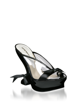 Patent Transparent Modified Wedge Style XEDE54\XAB99 70% PVC, 30% Calfskin Open toe with patent trim along transparent body Satin bow across vamp 5